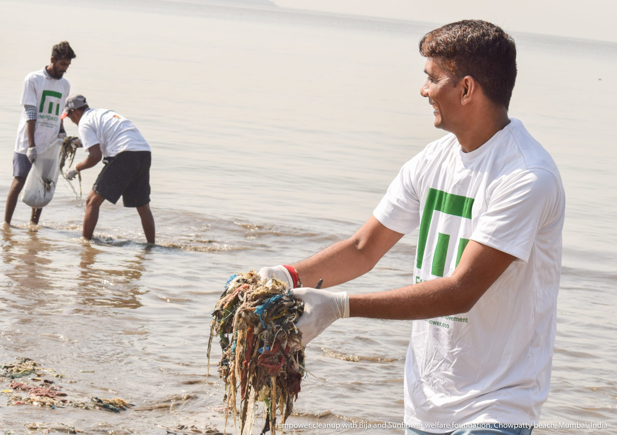Empower cleanup with Bija and Sunflower welfare foundation. Chowpatty beach, Mumbai, India.