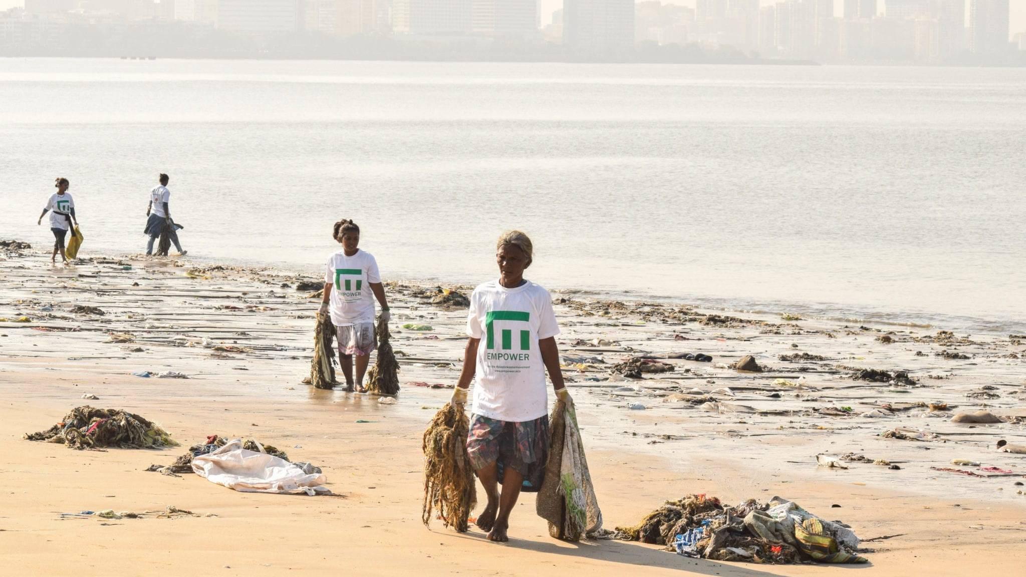 Empower cleanup with Bija and Sunflower welfare foundation. Chowpatty beach, Mumbai, India.