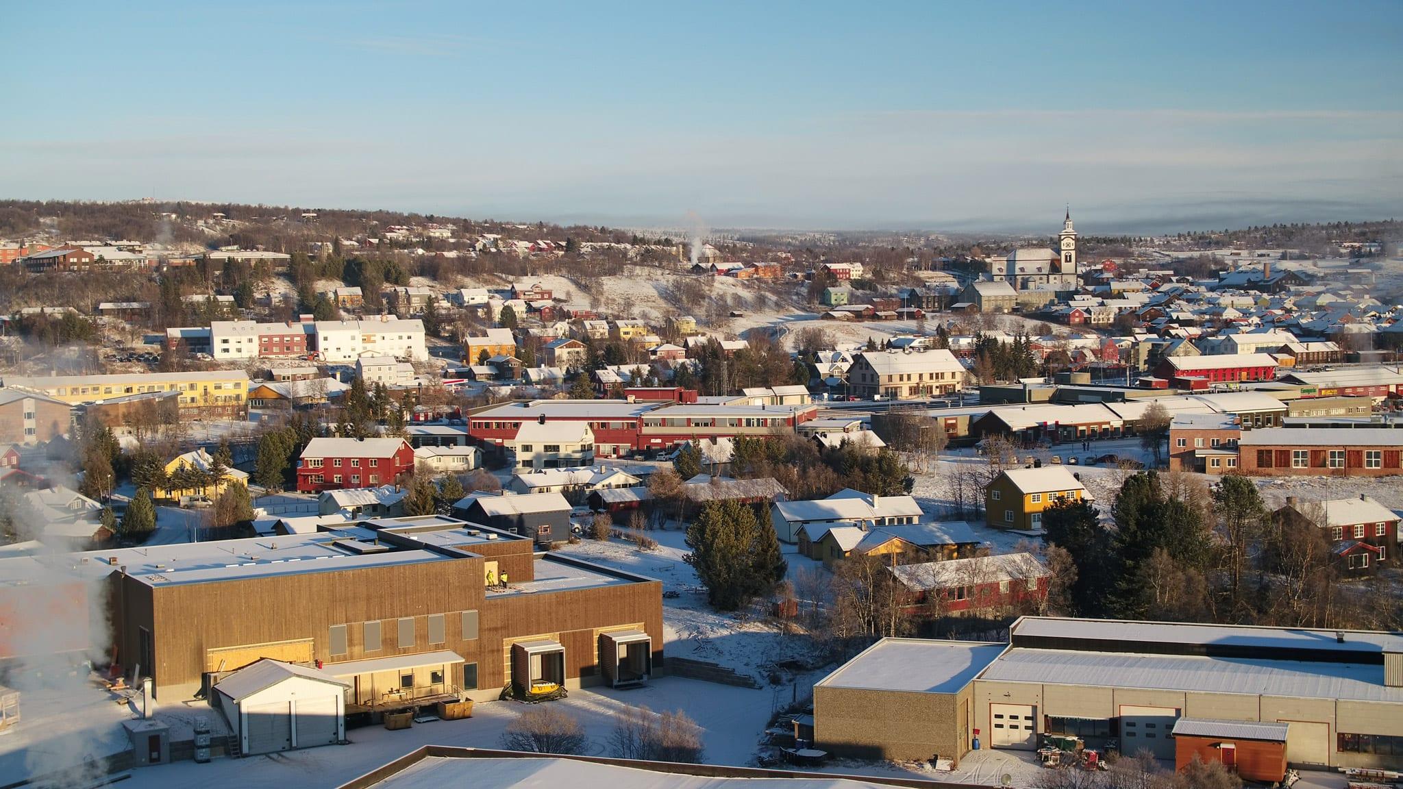 Dronebilde over Røros. Foto: Ren Røros Frontal