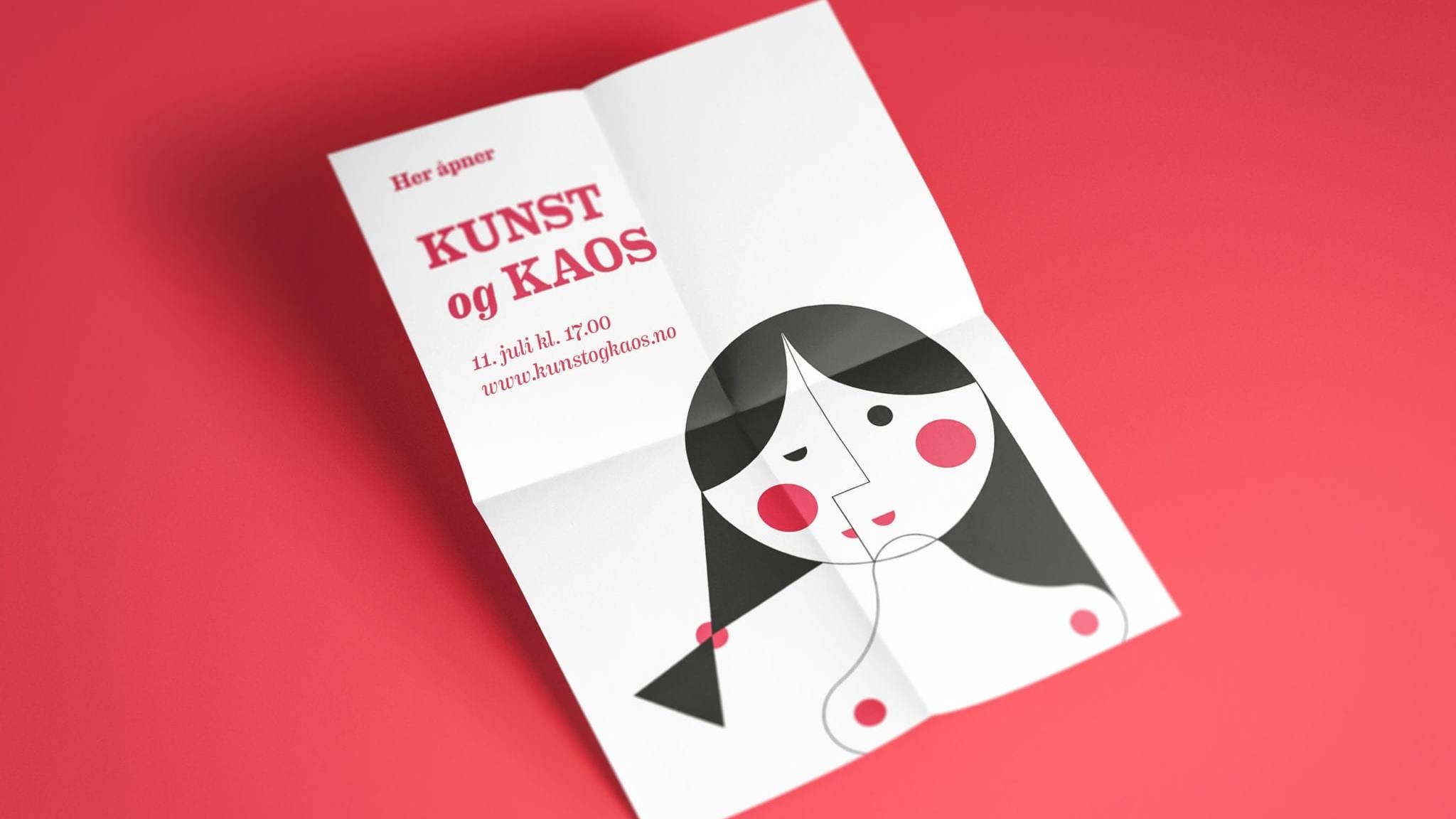 Plakat Kunst og kaos. Illustrasjon: Ren Røros Frontal
