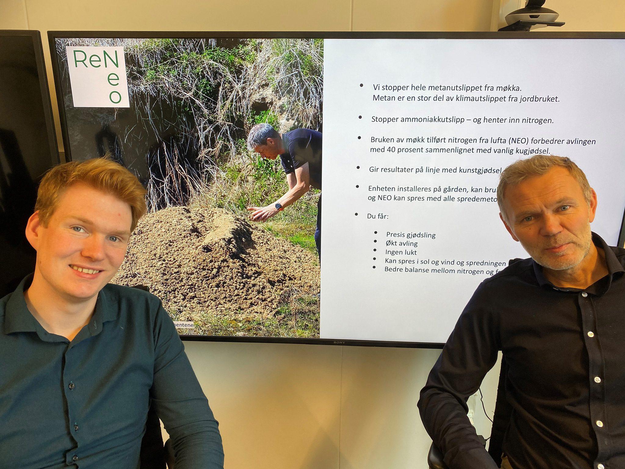 Tenker likt: Ask Ibsen Lindal, førstekandidat for MDG i Sør-Trøndelag, sier at ReNeo er en svært god løsning. Her sammen med Arnt Sollie i Ren Røros.
